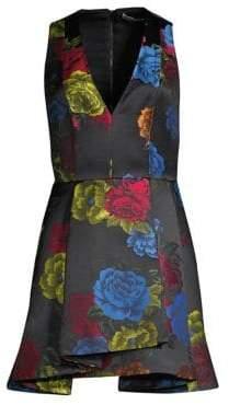 Alice + Olivia Tanner Asymmetric Floral Mini A-Line Dress