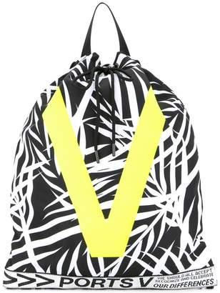 Ports V leaf print backpack with contrast V print