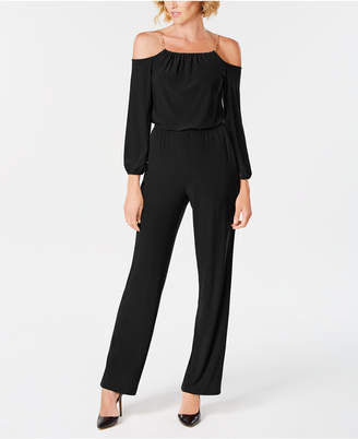NY Collection Petite Cold-Shoulder Chain-Strap Jumpsuit