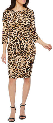 PREMIER AMOUR Premier Amour 3/4 Sleeve Animal Sheath Dress