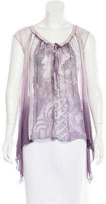 Jean Paul Gaultier Silk Printed Top $175 thestylecure.com