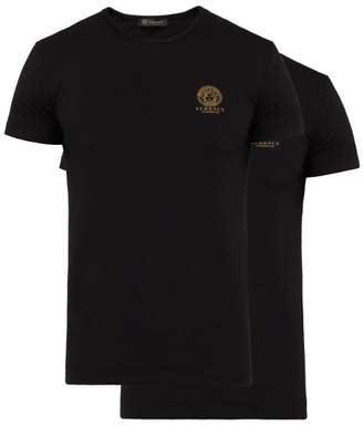 Versace Pack Of Two Medusa Print Stretch Cotton T Shirts - Mens - Black