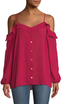 MICHAEL Michael Kors Cold-Shoulder Ruffled Button-Front Blouse