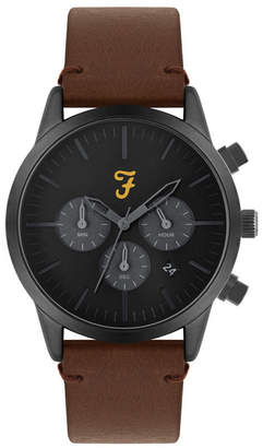Farah Men the Chrono Collection Tan Leather Strap Watch 42mm