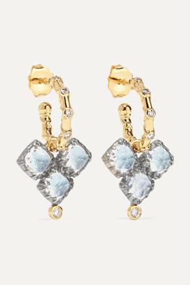 Larkspur & Hawk Ladies 14-karat Gold And Rhodium-dipped Quartz And Diamond Earrings