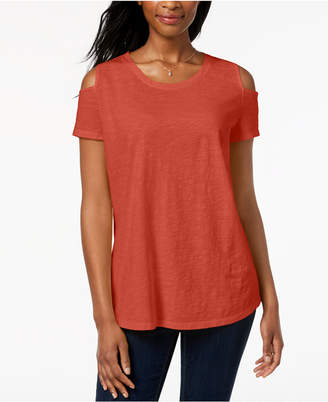 Style&Co. Style & Co Petite Cotton Cold-Shoulder Top, Created for Macy's