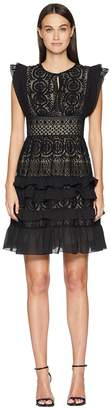 ML Monique Lhuillier Dress with Keyhole Detail and Skirt Ruffle Women's Dress