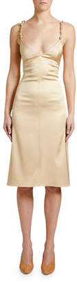 Bottega Veneta Knotted-Strap Satin Slip Dress