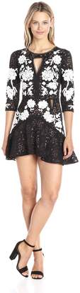 For Love & Lemons Women's Mallorca Embroidery Dress, Noir, XS