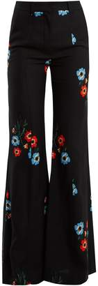 Sonia Rykiel Floral-print flared-leg crepe trousers