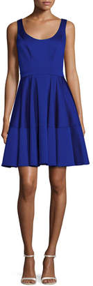 Zac Posen Sleeveless Satin Fit-and-Flare Cocktail Dress, Blue