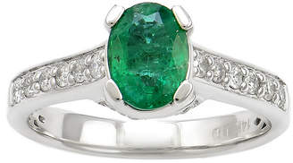 FINE JEWELRY LIMITED QUANTITIES Genuine Emerald & 3/8 CT. T.W. Diamond 14K White Gold Ring