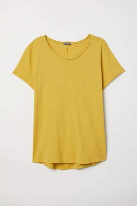 H&M Raw-edge T-shirt - Yellow