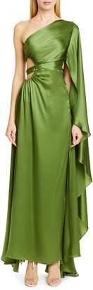 Cult Gaia Cosette One-Shoulder Silk Satin Formal Dress