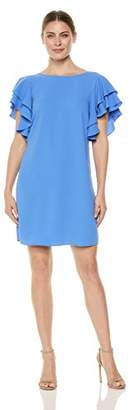 London Times Women's Ruffle Sleeve and Back Shift Dress
