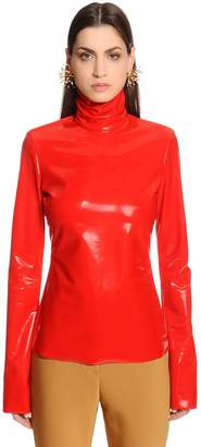 Ellery Stretch Faux Patent Leather Top