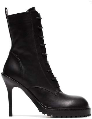 Ann Demeulemeester Black 100 laceup leather stiletto boots