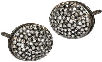 Silver Continent Fine Jewelry Diamond Micro Pave Oval Stud Earrings