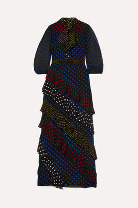 Alice + Olivia Alice Olivia - Lessie Ruffled Polka-dot Silk Crepe De Chine Maxi Dress - Black