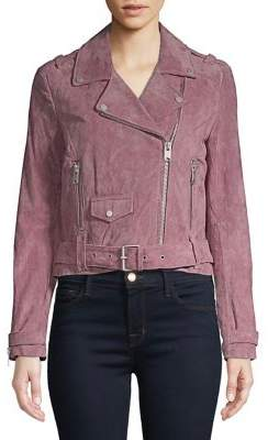 A. MARC NY Belted Leather Moto Jacket