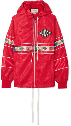 Gucci Oversized Appliquéd Printed Shell Bomber Jacket - Red