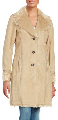 Belle By Badgley Mischka Long Sleeve Faux Fur Coat $400 thestylecure.com