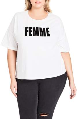 City Chic Faux Fur Lettered Femme Tee