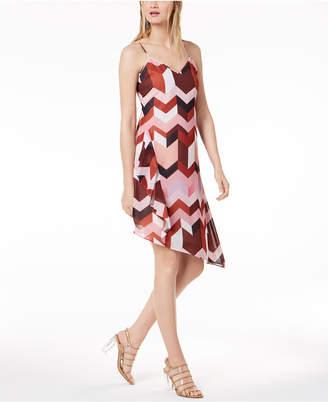 Bar III Geometric-Print Layered Slip Dress, Created for Macy's