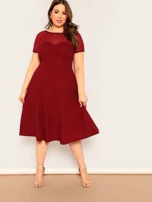 Shein Plus V-back Mesh Sweetheart Fit & Flare Dress