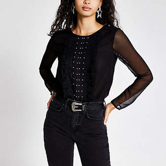 River Island Black long sheer sleeve frill front bodysuit