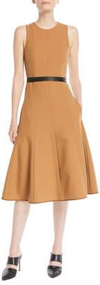 Narciso Rodriguez Twill Sleeveless Fit-and-Flare Midi Dress