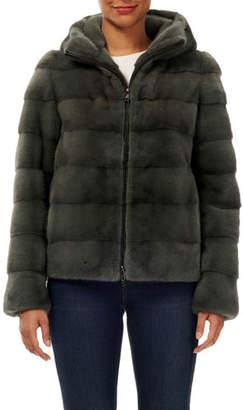 Gorski Horizontal Mink Fur Zip-Front Jacket w/ Hood