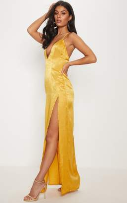 PrettyLittleThing Gold Satin Slip Maxi Dress