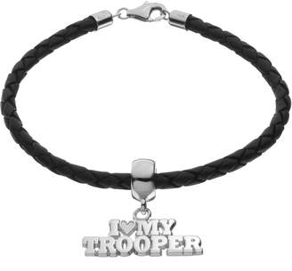 "Insignia Collection Sterling Silver & Leather ""I Love My Trooper"" Bracelet"