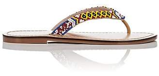 Barneys New York WOMEN'S BEADED LEATHER THONG SANDALS SIZE 7