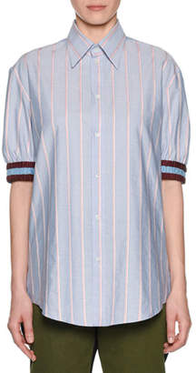 No.21 No. 21 Striped Point-Collar Button-Front Shirt