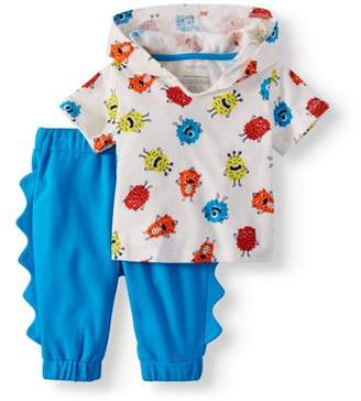 Miniville Baby Boy Hooded Short Sleeve T-shirt & Monster Scale Pants, 2pc Outfit Set