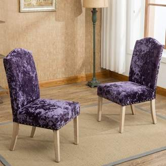 Roundhill Furniture Caen Nail Head Urban Style Solid Wood Ice Velvet Fabric Padded Parson Chairs Set of 2, Purple