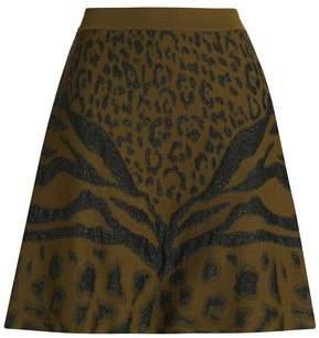 Roberto Cavalli Glittered Leopard-Print Jacquard-Knit Mini Skirt