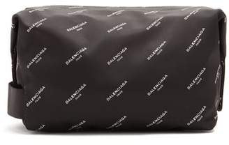 Balenciaga All Over Print Wash Bag - Mens - Black