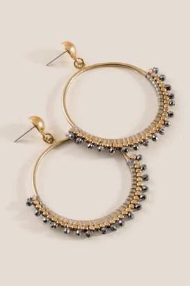 francesca's Mavis Circle Drop Earrings - Gray