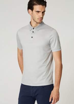 Giorgio Armani Short-Sleeved Polo Shirt In Fresco Wool