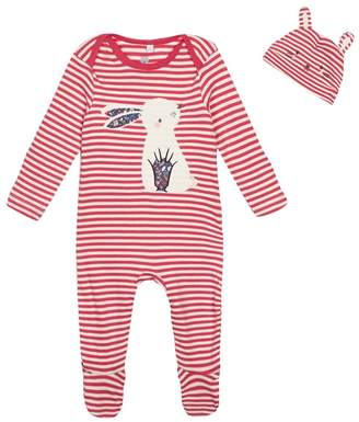 Bluezoo BLUE ZOO 'Baby Girls' Pink Striped Sleepsuit And Hat