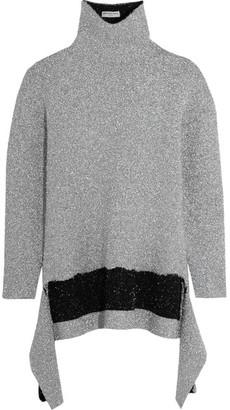 Balenciaga - Asymmetric Metallic Knitted Turtleneck Sweater - Silver $985 thestylecure.com
