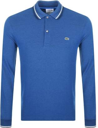 Lacoste Long Sleeved Twin Tipped Polo T Shirt Blue