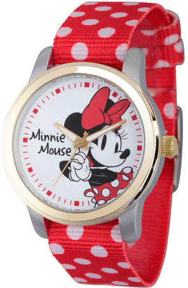 Disney Womens Minnie Mouse Red And White Polka Dot Strap Watch