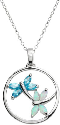 Jewelry For Trees Jewelry for Trees Platinum Over Silver Cubic Zirconia & Lab-Created Opal Dragonfly Pendant