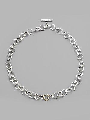 David Yurman Sterling Silver & 18K Yellow Gold Heart Link Necklace