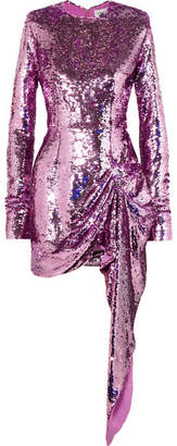 16ARLINGTON - Draped Sequined Crepe Mini Dress - Pink