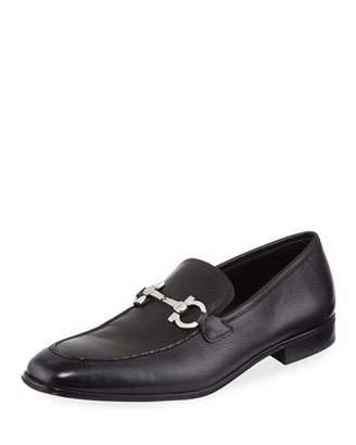 Salvatore Ferragamo Flori 2 Textured Calfskin Gancini Loafer, Black $595 thestylecure.com